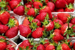 Frisches Obst wie Erdbeeren, auf Englisch strawbeeries, sind für eine Diät gut geeignet, da sie wenig Kalorien enthalten.